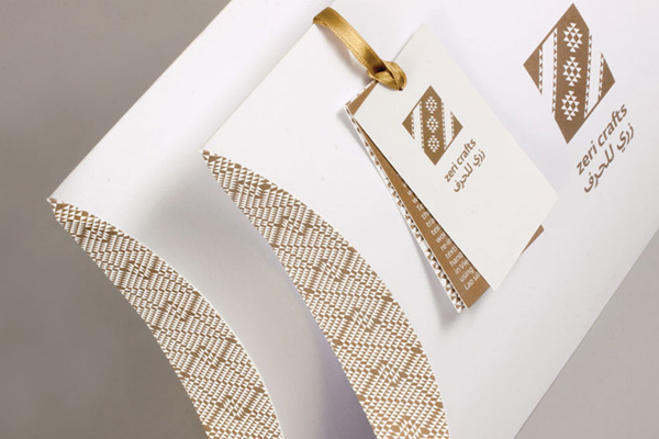 Logo and packaging with gold metallic spot colour detail designed by Rocío Martinavarro for textile producer Zeri Crafts