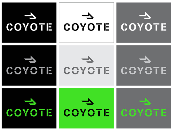 Logo design by Moving Brands for Chicago based third party logistics business Coyote