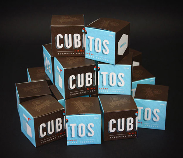 Packaging created by Studio Alto for European truffle brand Cubitos