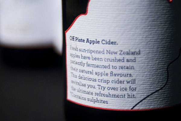 Packaging created by freelance designer Ben Dalrymple for fictional New Zealand cider brand Off Piste