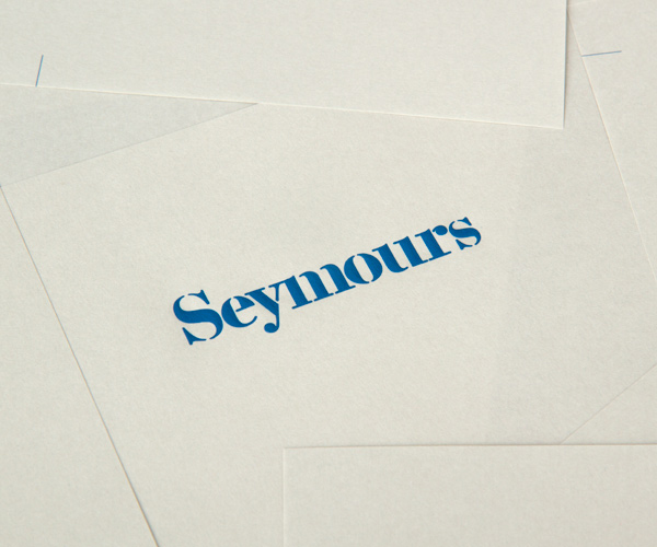 Logo and print with emboss detail designed by Spin for international art acquisition advisory service Seymours.