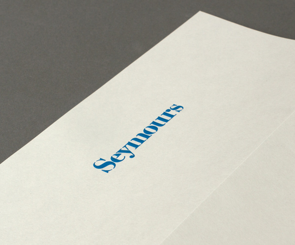 Logo and compliment slip with emboss detail designed by Spin for international art acquisition advisory service Seymours.