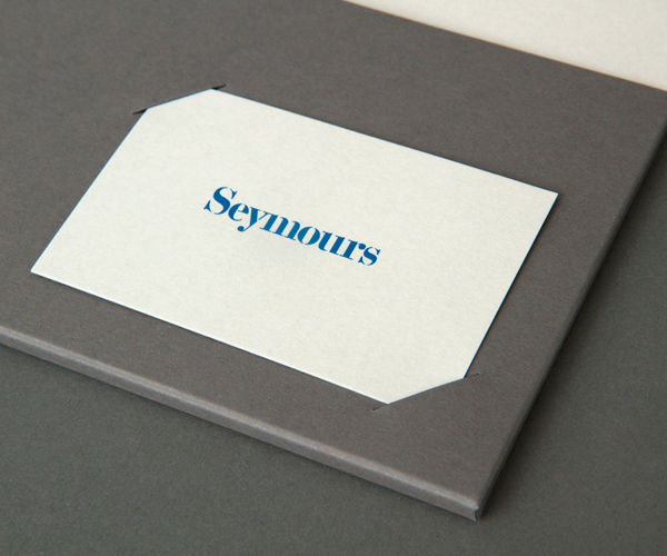 Logo and business cards with emboss detail designed by Spin for international art acquisition advisory service Seymours.