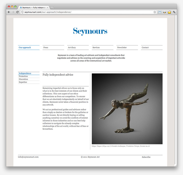 Logo and website designed by Spin for international art acquisition advisory service Seymours.