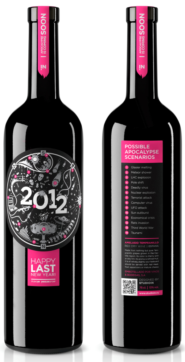 Self-initiated NYE wine packaging created by design agency StudioIN as a corporate gift to celebrate the 2012 new year