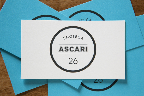 Logo and business cards designed by Blok for Toronto based Italian restaurant Ascari Enoteca
