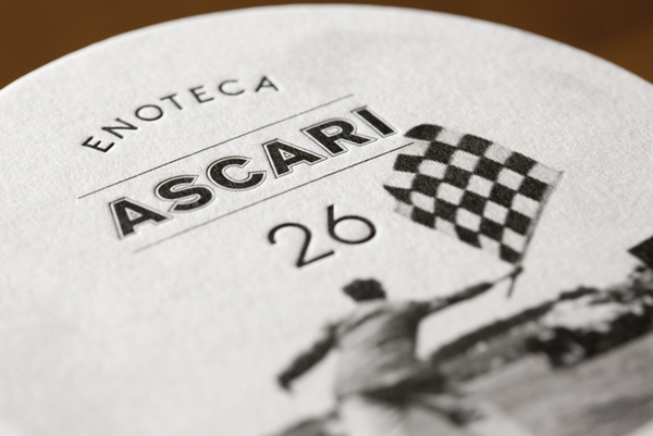 Logo and letterpress coasters designed by Blok for Toronto based Italian restaurant Ascari Enoteca