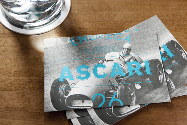 Logo and print with vintage racing photography detail designed by Blok for Toronto based Italian restaurant Ascari Enoteca