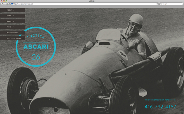 Logo and website designed by Blok for Toronto based Italian restaurant Ascari Enoteca