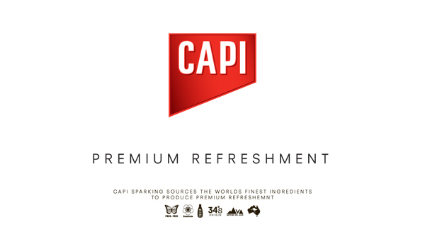 Logo design by CIP for premium carbonated fruit juice, mixer and mineral water brand CAPI.