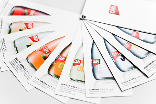 Brochure created by CIP for premium carbonated fruit juice, mixer and mineral water brand CAPI.