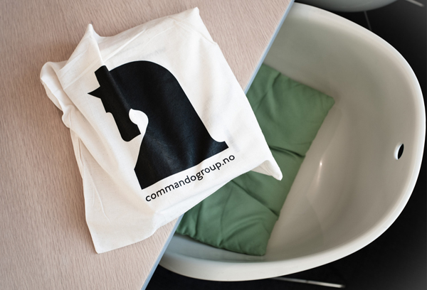 Bag with logo screen print created for and by Oslo based multidisciplinary visual communications agency Commando Group