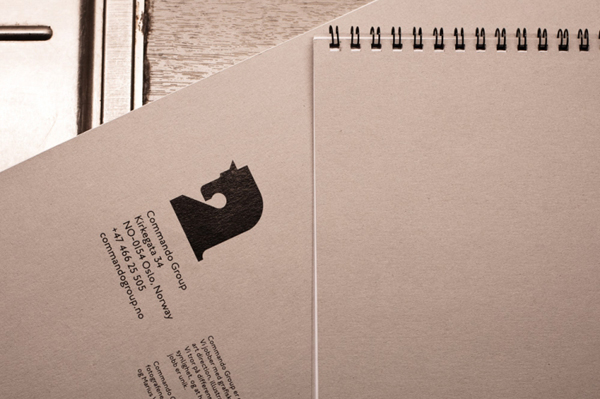 Notepad with logo detail created for and by Oslo based multidisciplinary visual communications agency Commando Group