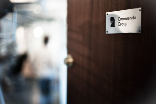 Logo and interior signage created for and by Oslo based multidisciplinary visual communications agency Commando Group