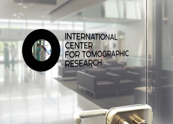 Logo as a window decal created by Tomat Design for The International Center for Tomographic Research