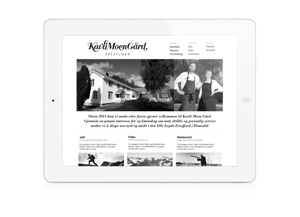 Logotype and website created by Strømme Throndsen Design for Norwegian guest house, farm and restaurant Kavli Moen Gård