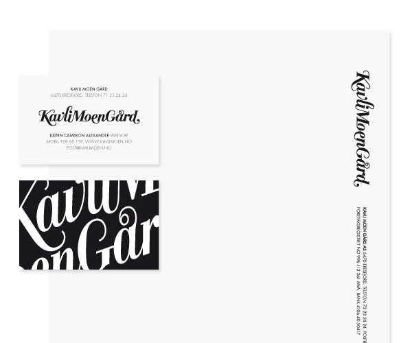 Logotype and stationery created by Strømme Throndsen Design for Norwegian guest house, farm and restaurant Kavli Moen Gård