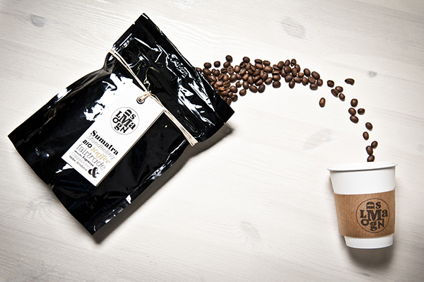 Coffee packaging designed by Moodley for Austrian vegetarian and wholefood restaurant Mangolds