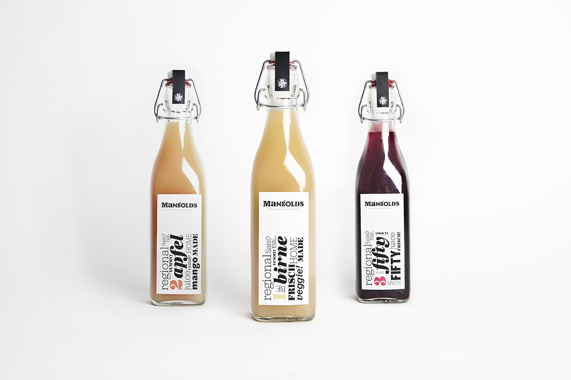 Juice packaging designed by Moodley for Austrian vegetarian and wholefood restaurant Mangolds