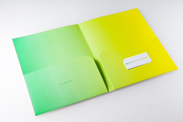 Logo and folder with fluorescent yellow and green print treatment created by Blok for Canadian charity Partners For Mental Health
