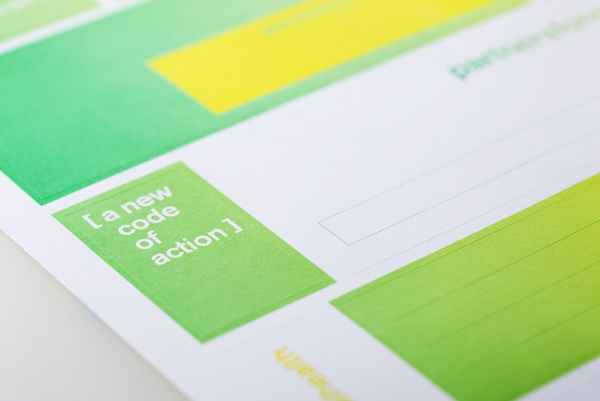 Stickers with fluorescent yellow and green print treatment created by Blok for Canadian charity Partners For Mental Health