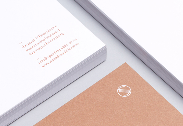 Logo and stationery with copper ink detail designed by James Kape for South African high-end motor vehicle trader Speed Republic