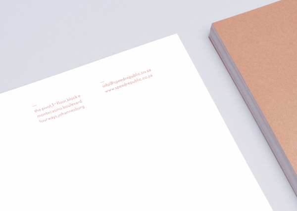 Logo and letterhead with copper ink detail designed by James Kape for South African high-end motor vehicle trader Speed Republic