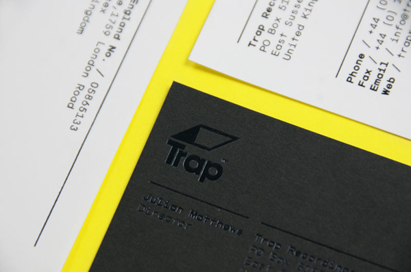 Logo and business card with black block foil print finish designed by Red for UK independent recording studio Trap