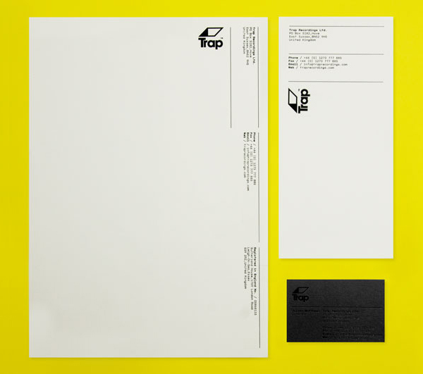 Logo, stationery and business card with black block foil print finish designed by Red for UK independent recording studio Trap