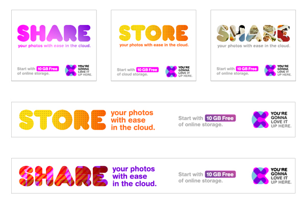 Digital ads designed by Moving Brands for mobile and desktop cloud storage service CX