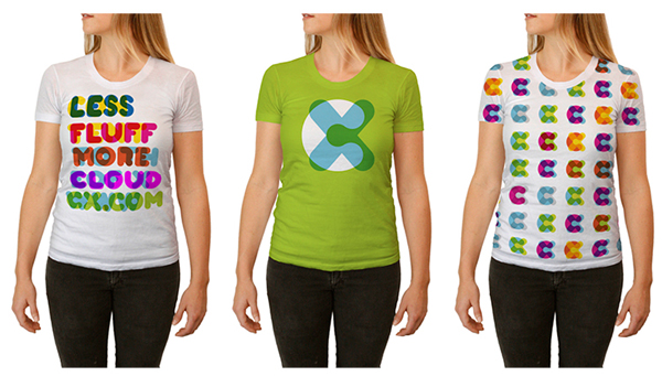 Logo and T-shirts designed by Moving Brands for mobile and desktop cloud storage service CX