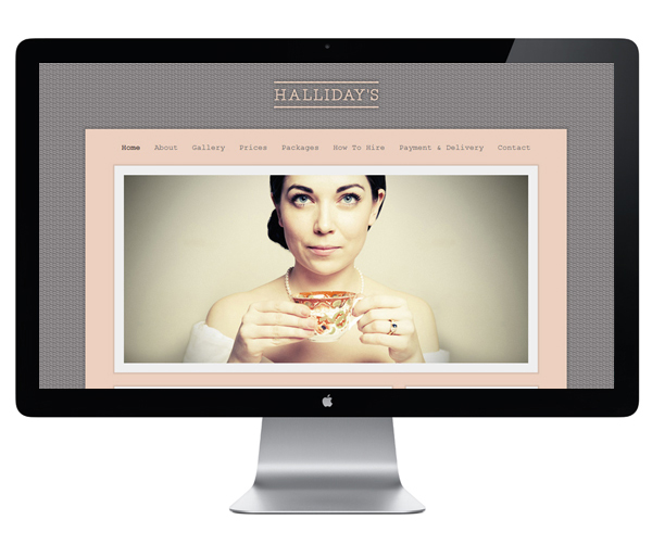 Website design by Family featuring photography by Jade Sukiya for vintage china hire service Hallidays