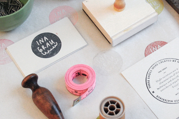 Hand stamped stationery designed by Anthony Lane for sophisticated handcrafted shoe brand Ina Grau