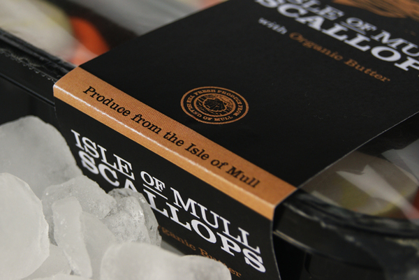 Packaging design with illustrative and typographic detail created by My Creative for Isle of Mull Scallops