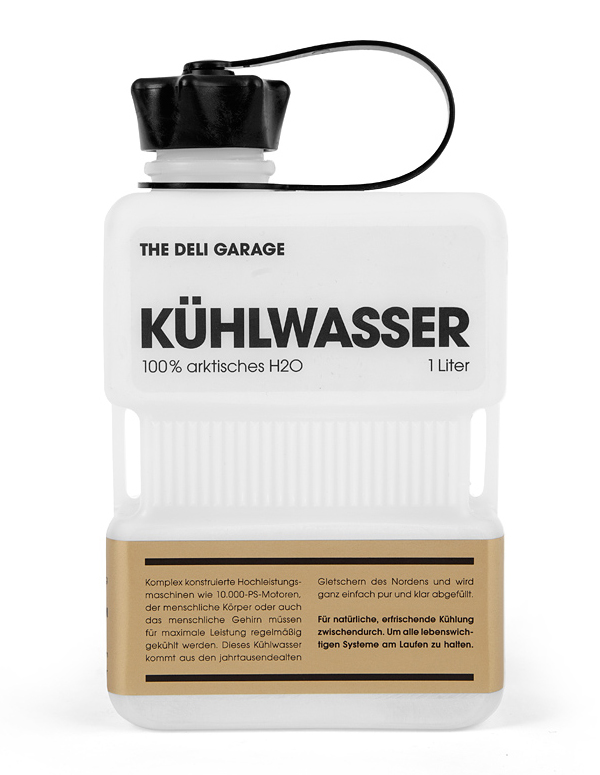 Packaging with screen print and gold label detail designed by Rocket & Wink for The Deli Garage's premium glacial water product Kühlwasser
