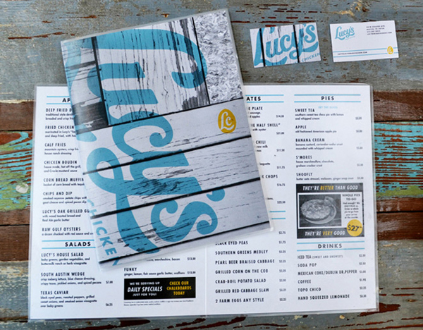 Script logotype and menus designed by Pentagram for Austin based fried chicken and oyster bar/restaurant Lucy's