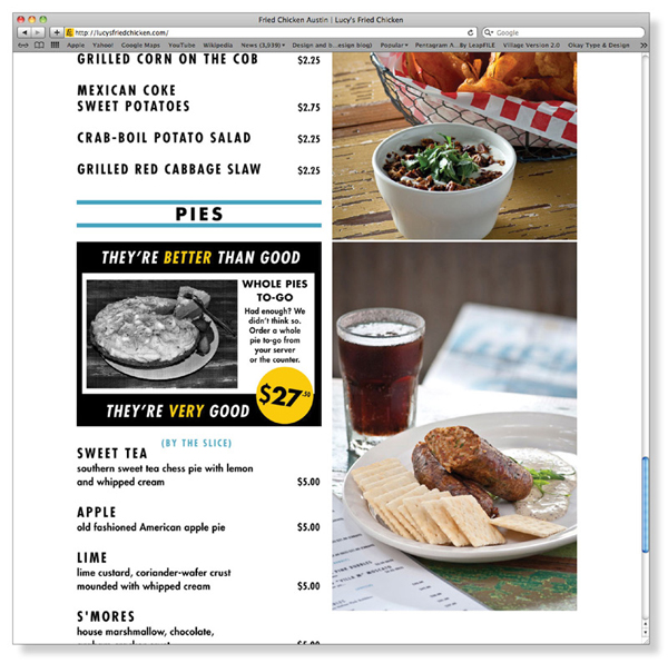 Website designed by Pentagram for Austin based fried chicken and oyster bar/restaurant Lucy's