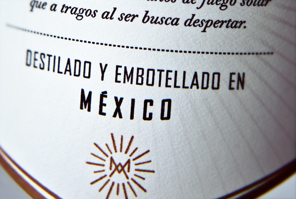 Packaging with metallic copper spot colour detail designed by Butic for Mexican mezcal spirit brand Mezcal Amores