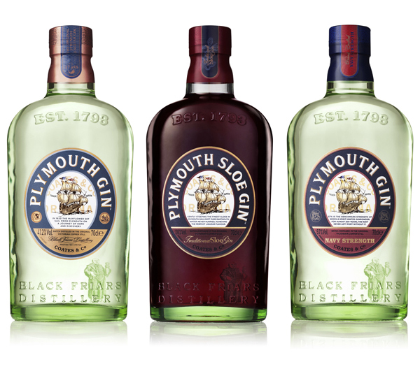 Packaging with an intentionally imperfect and tinted glass design created by Design Bridge for 'super premium' Plymouth Gin