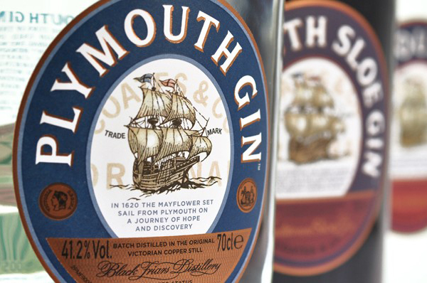Packaging with metallic copper detail created by Design Bridge for 'super premium' Plymouth Gin
