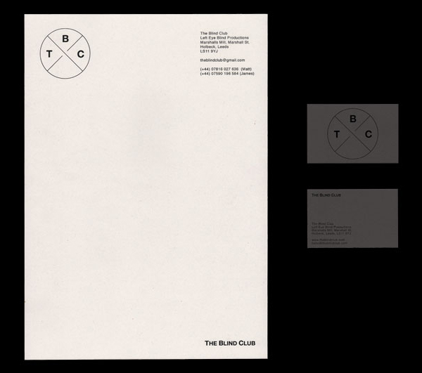 Logo and stationery with a black block foil detail designed by Catalogue for cinematic production company The Blind Club
