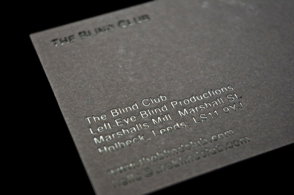 Logo and black block foil business card designed by Catalogue for cinematic production company The Blind Club