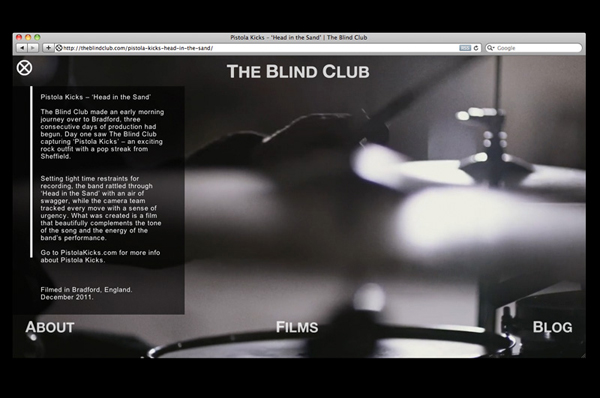 Website designed by Catalogue for cinematic production company The Blind Club