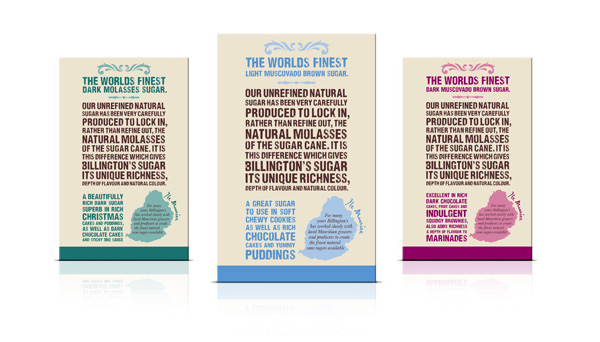 Packaging with a typographic and illustrative approach created by JKR for The Silver Spoon Company's sugar brand Billington's