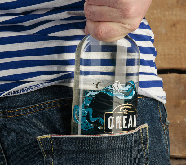 Packaging with illustrative detail designed by Alexey Seoev for Russian vodka brand Ocean (Океан)