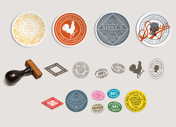 Badges, stickers and stamps designed by Tractorbeam for Sissy's Southern Kitchen