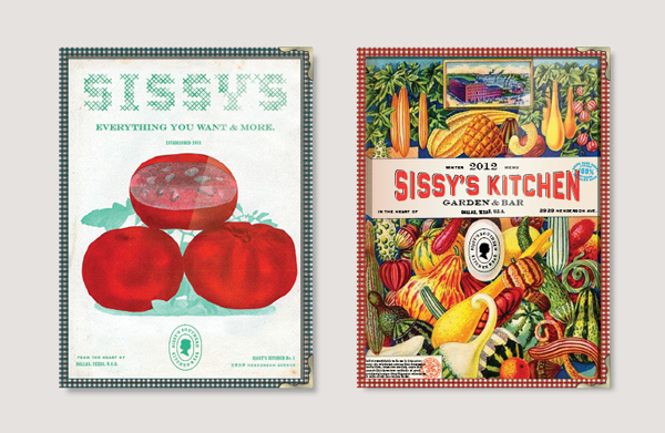 Menu covers with vintage illustrative detail for Texas based restaurant Sissy's Southern Kitchen