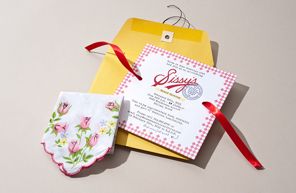Logotype and invitation with pattern, stamp and ribbon detail designed by Tractorbeam for Sissy's Southern Kitchen