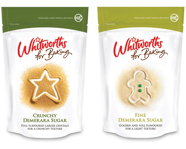 Packaging created by Leahy Brand Design for baking sugar brand Whitworths for Baking