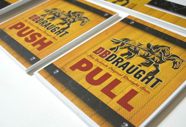 Print with illustrative detail created by Designworks for award winning New Zealand draught ale DB Draught